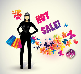 Shopping woman ,best bye .Vector illustration
