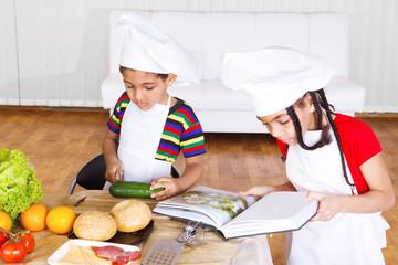 Kids making salad