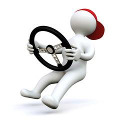 3D Man car driver