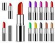 set of colorful color lipsticks isolated on white