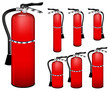 set of fire extinguisher isolated on white background