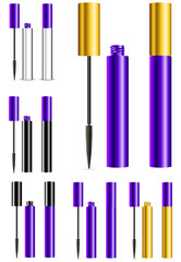 set of purple and gold mascara isolated on white