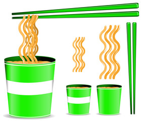 set of green noodle cup with chopsticks isolated on white
