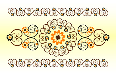 horizontal ornament with flower