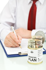 Business man making financial plan