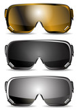 set of ski goggles isolated on white background