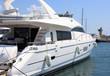 white yacht in marina