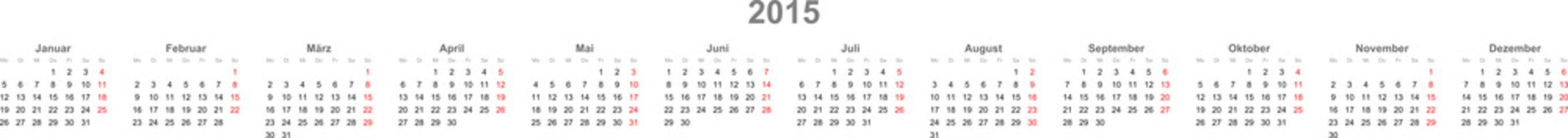 Kalender Zeile 2015