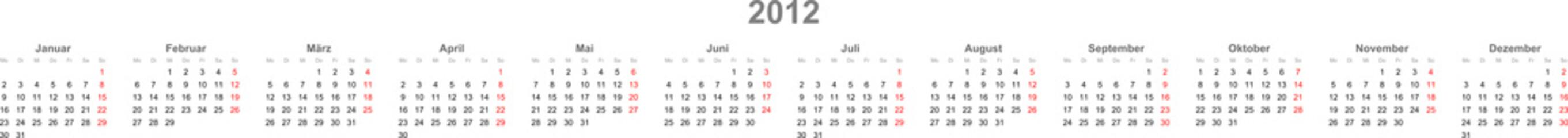 Kalender Zeile 2012