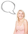 Happy blonde girl standing near blank speech bubble
