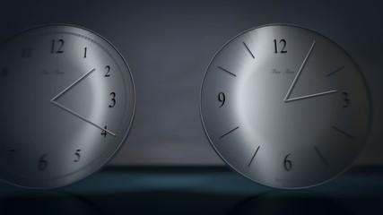 Time is running. Dolly shot past running clocks. HD 1080i.