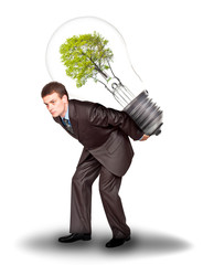 Businessman with eco lamp on back