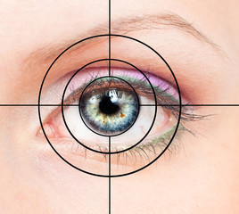 Human eye and target