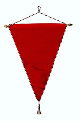 Stylish red pennant or triangle flag with bright bright white an