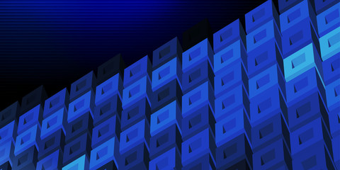 Dark blue 3D technologic banner with cell structure