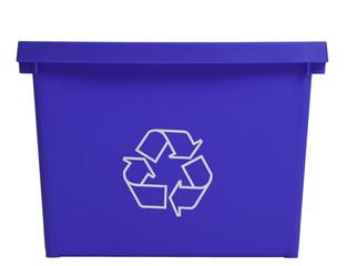 Blue recycling bin, frontal view