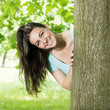 happy young woman in park