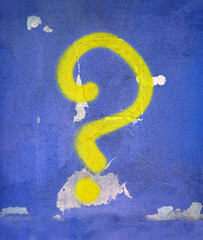 abstract question sign on wall, vintage details