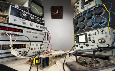 Interior of vintage technological laboratory