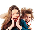 Mad man with funny hairdo tempting young girl for something poster