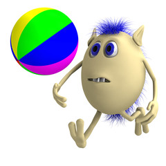 Haired 3D puppet playing with colorful ball