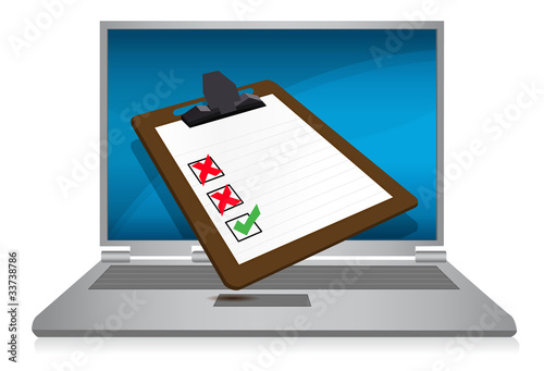 laptop display with a survey clipboard illustration