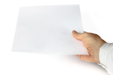 a hand showing white paper