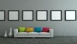 WOhndesign - weisses Sofa mit bunten Kissen