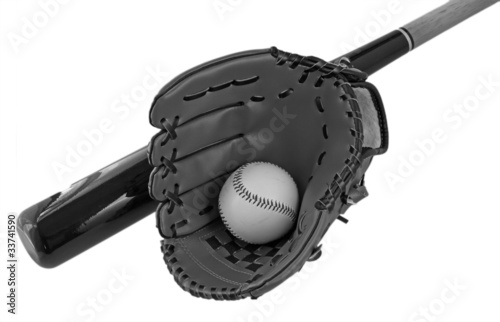 Bat, ball and glove