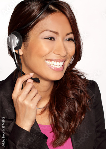 Pretty call center worker smiling
