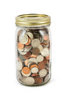 Jar Full Of Coins On White Background