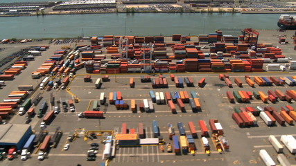Aerial view of Container Port and Harbor, New York State, USA