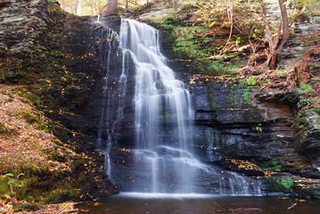 Autumn Waterfall in mountain.