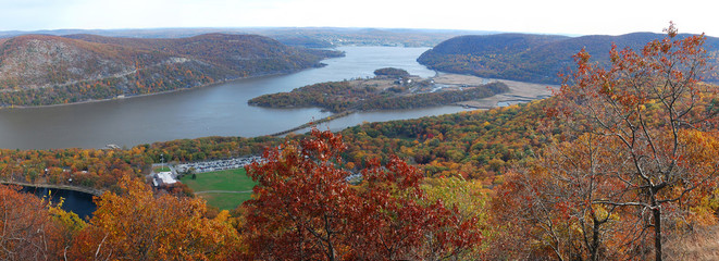 Autumn Bear Mountain aerial view panorama with Hudson River