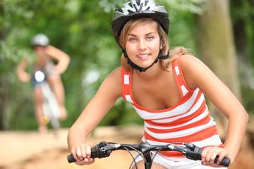 Teenage girl on a mountain bike