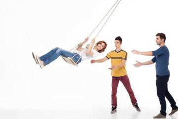 friends having fun swing