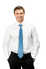 Portrait of happy smiling business man, isolated on white