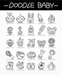 cartoon baby doodle icon set