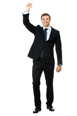 Happy gesturing young smiling business man , isolated