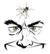 cartoon man face with insect fly
