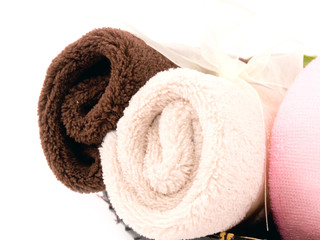 Soft towels on white