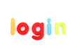 colorful login letters