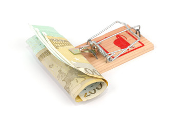 Euro banknotes in a mousetrap