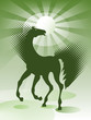 Green background with horse
