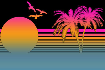 Tropical Summer Sunset In The 80s - Black