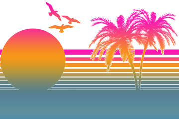 Tropical Summer Sunset In The 80s - White
