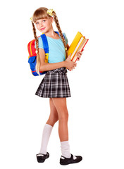 Schoolgirl with backpack holding books.