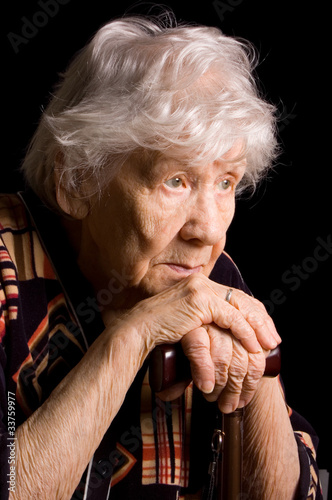 Portrait of old woman a black