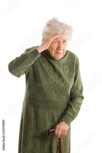 old woman isolated on white background