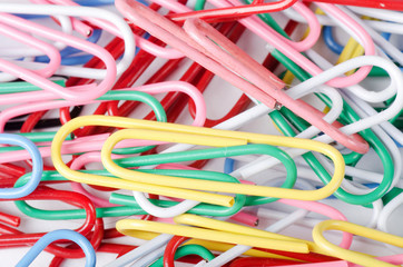 Close-up of multi-colored paper clips